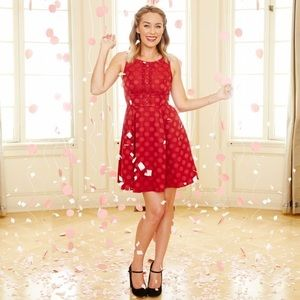 LC Lauren Conrad Disney red polka dot party dress